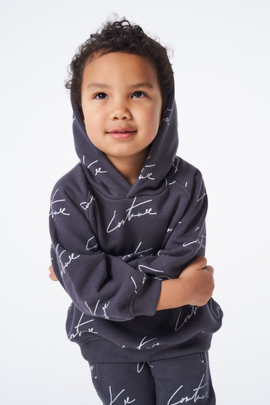 SIGNATURE REPEAT PRINT HOODIE CHARCOAL