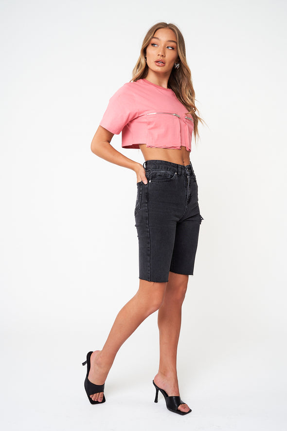 ZIP POCKET CROPPED OVERSIZED T-SHIRT