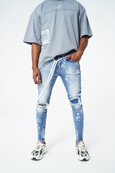 RIP AND REPAIR BLEACH DENIM JEANS