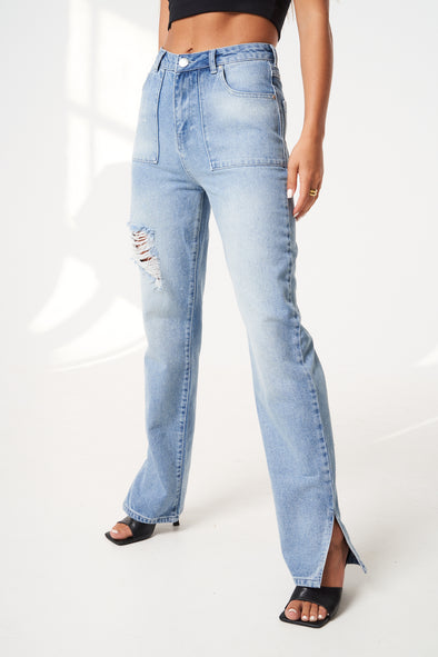 SIDE SPLIT STRAIGHT LEG DENIM JEANS