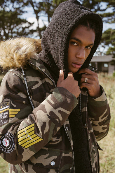 CAMO BADGED FUR HOODED PARKA