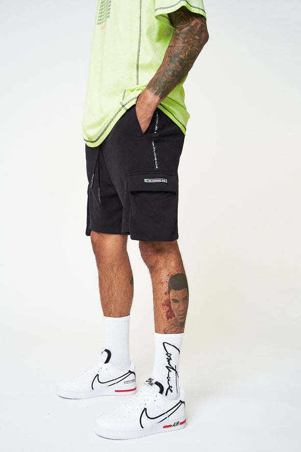 DROPPED POCKET TAPED SHORTS