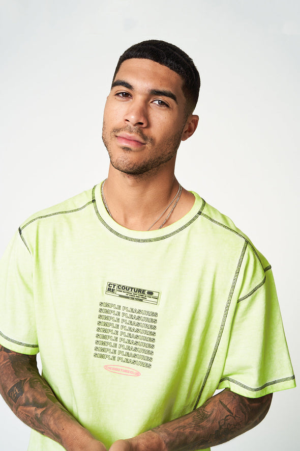 SIMPLE PLEASURES NEON OVERLOCK T-SHIRT