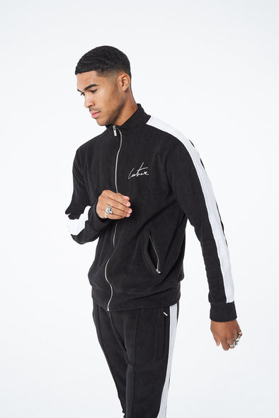 CONTRAST PANELLED TOWELLED TRACK TOP