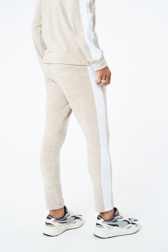 CONTRAST PANELLED TOWELLED TROUSERS