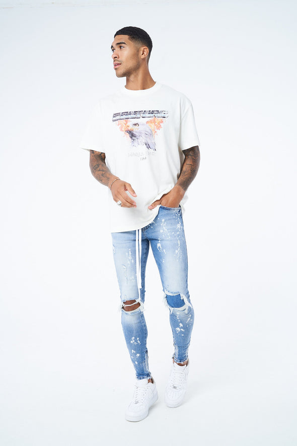 EAGLE DISTRESSED PRINT T-SHIRT