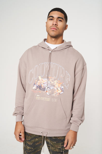 ACID WASH CAR GRAPHIC DRAWCORD OVERSIZED HOODIE