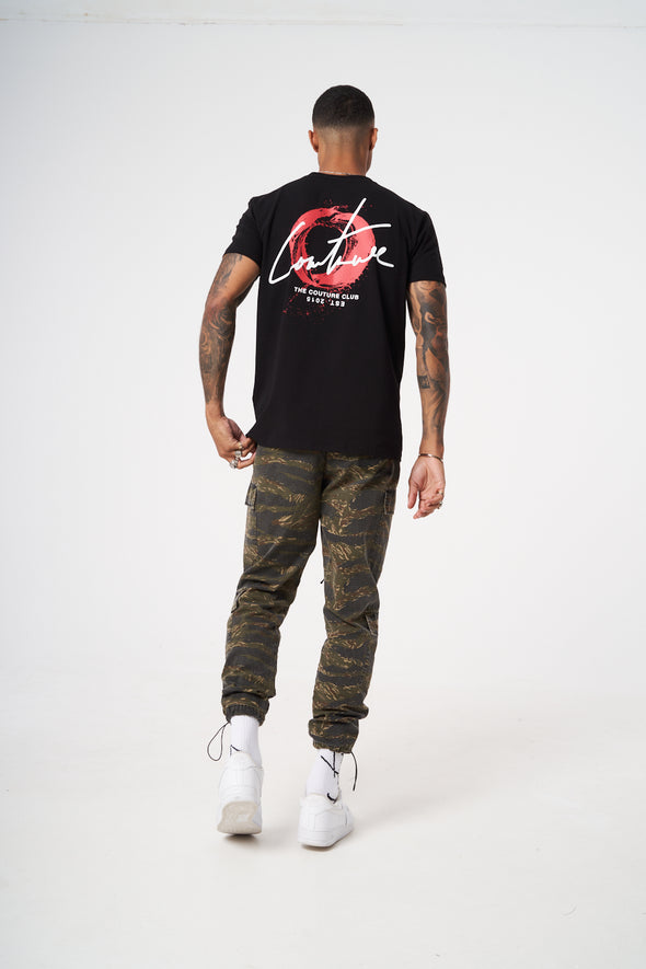 WAVE CIRCLE CUT OUT SLIM FIT T SHIRT