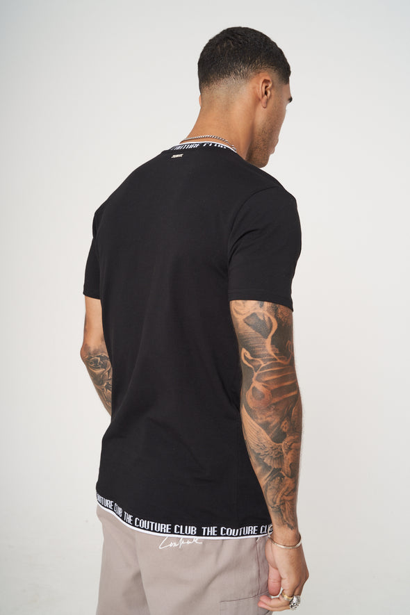 JACQUARD RIB NECK SLIM FIT T-SHIRT