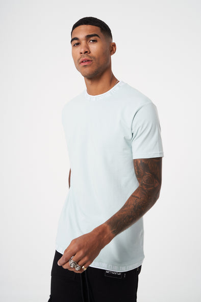 JACQUARD RIB NECK SLIM FIT T SHIRT