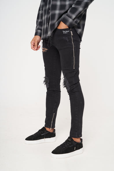 SLIM FIT SUEDE DETAIL BIKER JEANS BLACK