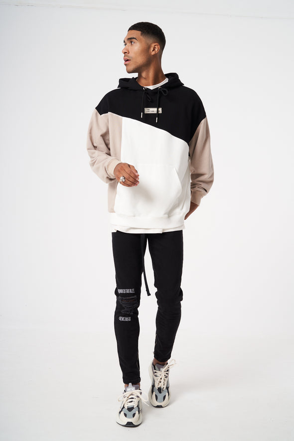 OVERSIZED SPLICED CONTRAST STITCHED HOODIE
