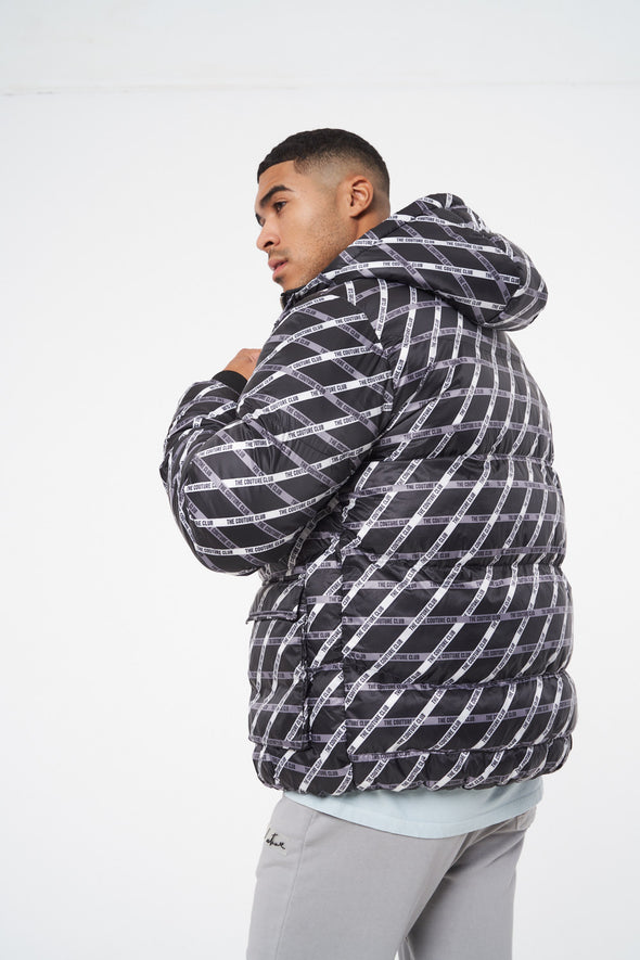 TAPE REPEAT PRINTED PUFFER JACKET