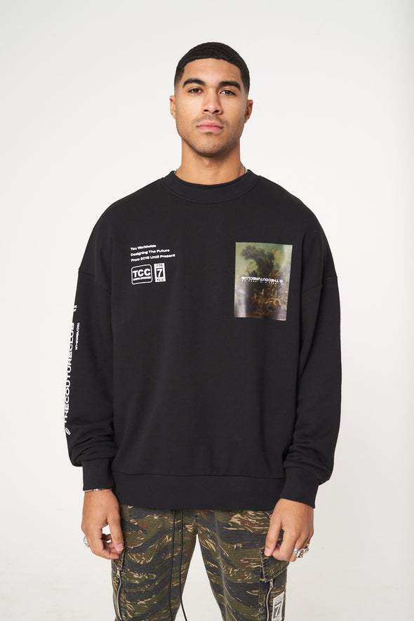 BACK PRINT SIGNATURE SEASON OVERSIZED CREW SWEATSHIRT