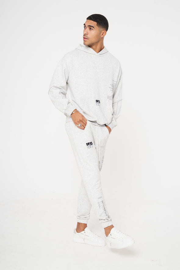DOUBLE POCKET PRINT RELAXED FIT HOODIE GREY