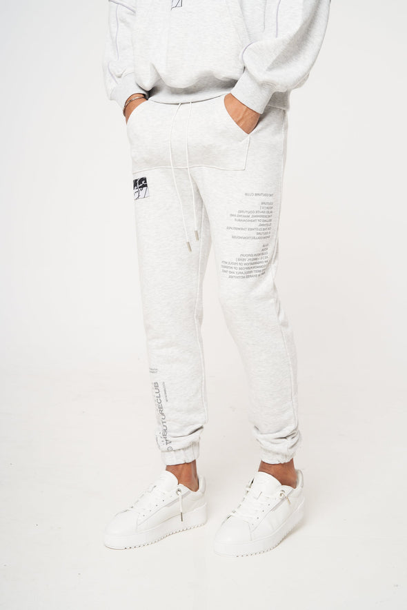 FRONT POCKET LEG PRINT SLIM JOGGER GREY