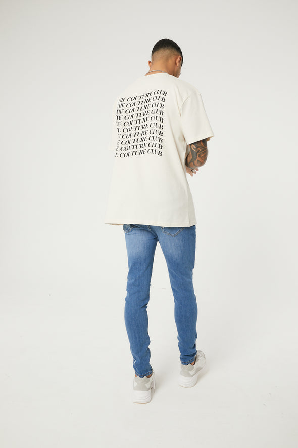 COUTURE WAVE BACK PRINT RELAXED FIT T-SHIRT