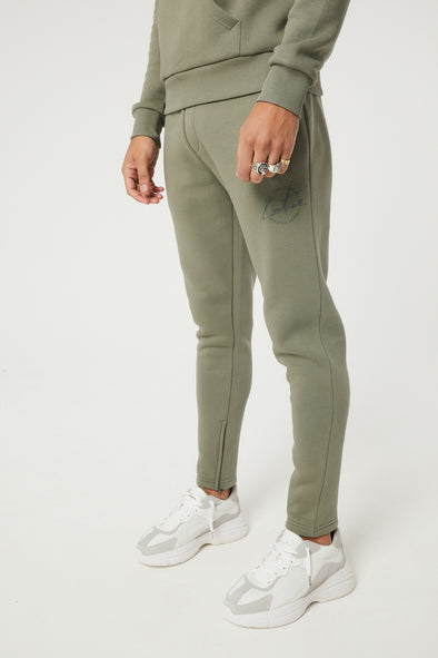 SIGNATURE EMBROIDERED CIRCLE SLIM FIT JOGGERS KHAKI
