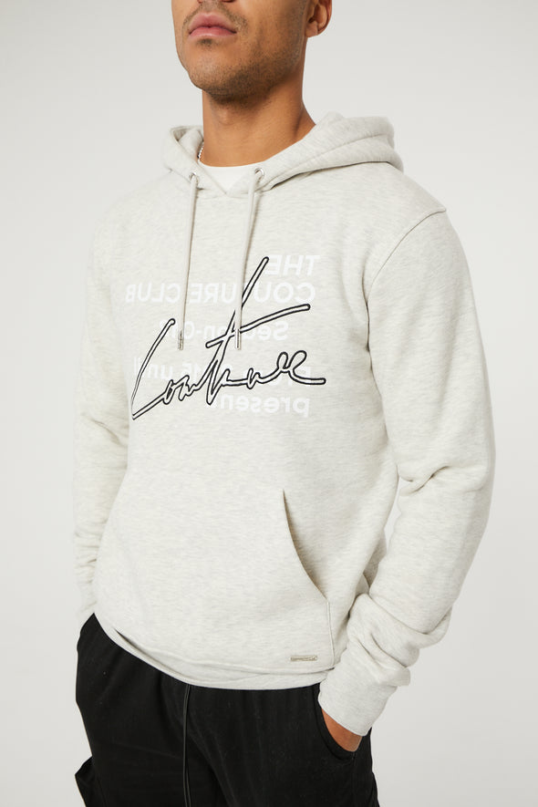 SIGNATURE SEASON EMBROIDERED HOODIE GREY MARL