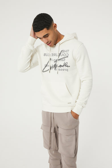 SIGNATURE SEASON EMBROIDERED HOODIE OFF WHITE