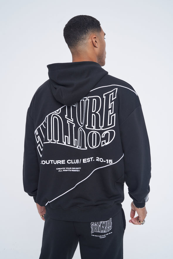 COUTURE WAVE PRINT PIPED HOODIE