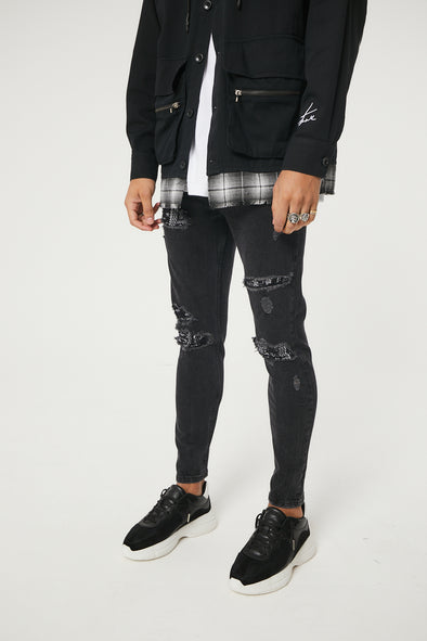 BIKER BANDANA PATCH SLIM BLACK JEANS