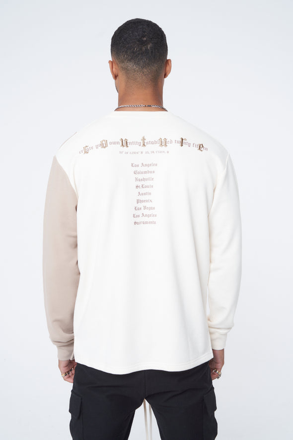 CONTRAST PANEL GOTHIC EMBROIDERED CREW