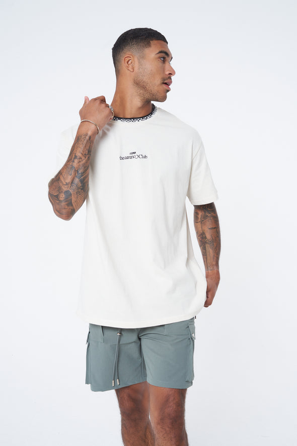 ENZYME WASH JACQUARD NECK RELAXED T SHIRT