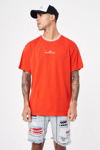 CORE JACQUARD NECK RELAXED T SHIRT