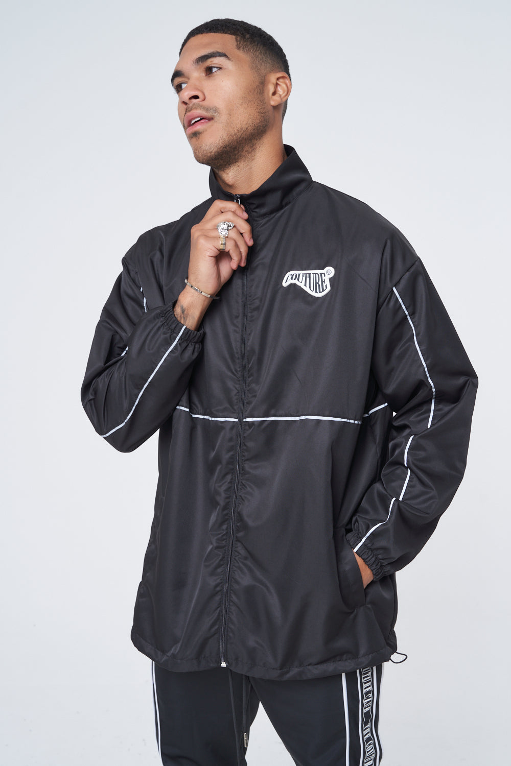 Clothing & Accessories Reflective Piping Shell Jacket