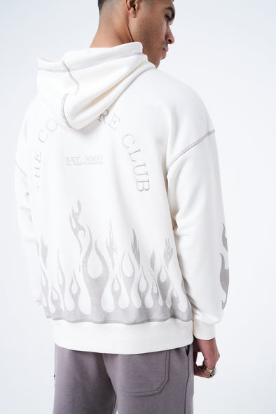 BOXY DISTRESSED FLAME GRAPHIC HOOD