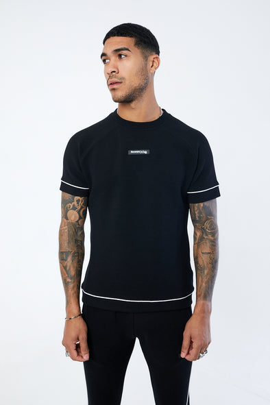 JACQUARD RIB TEXTURED SLIM FIT T SHIRT
