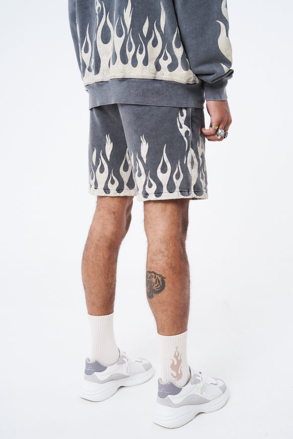 DISTRESSED FLAME GRAPHIC SHORTS