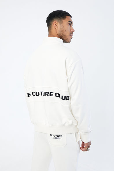 MINIMAL EMBROIDERED 1/4 ZIP CREW