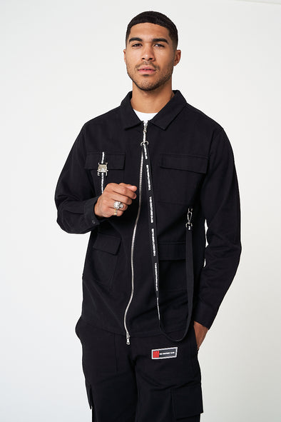 TAPE LOGO ZIP DETAIL OVERSHIRT IN COTTON