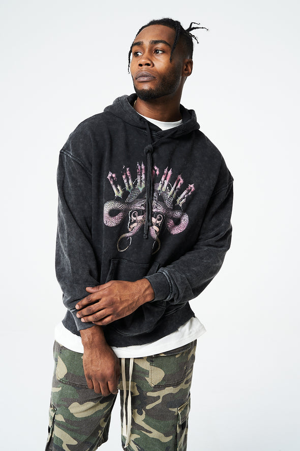GRAPHIC SNAKE DISTRESSED LOGO OVERSIZED HOODIE