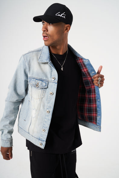 CHECK LINED DESTROYED DENIM JACKET