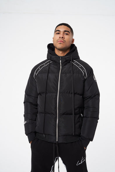 SIGNATURE PIPED PUFFER JACKET