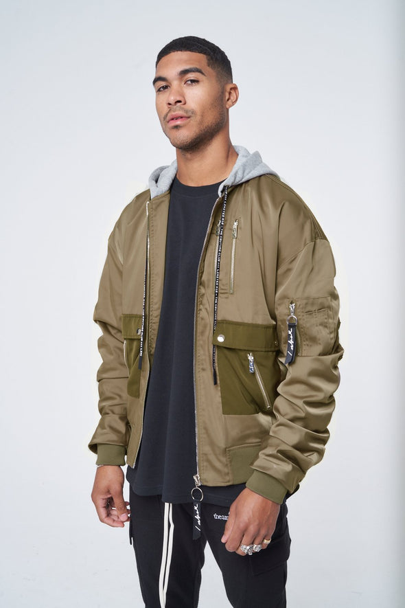 SATIN RUCHED SLEEVE HOODED BOMBER JACKET