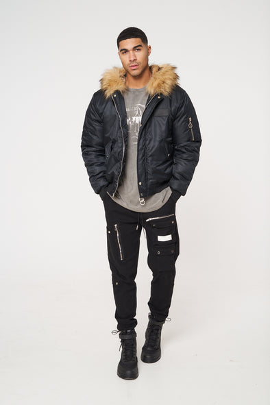 DAKOTA FUR HOODED BOMBER JACKET