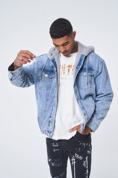 BLUE FAUX FUR LINED BOMBER JACKET