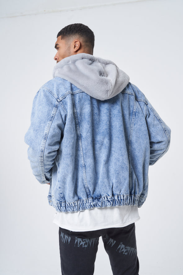 DENIM FAUX FUR LINED BOMBER JACKET WITH HOOD