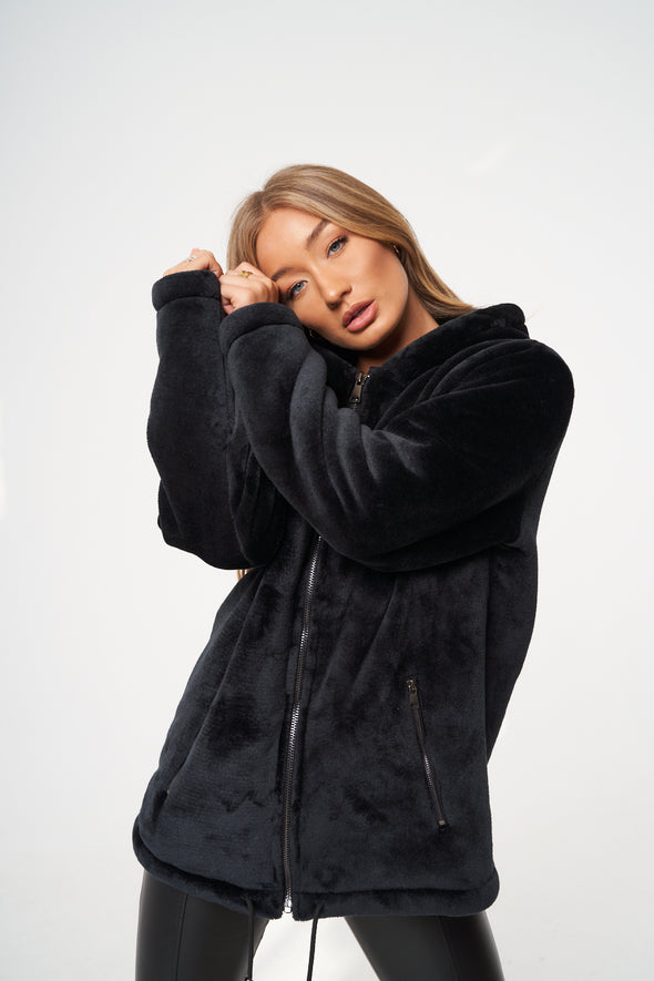 SIGNATURE APPLIQUE FUR OVERSIZED HOODIE