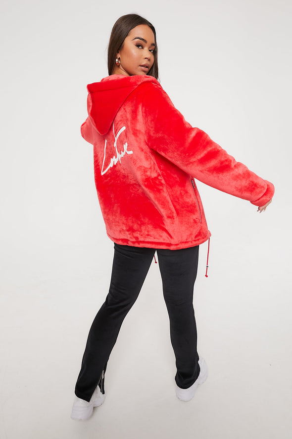 SIGNATURE APPLIQUE FUR OVERSIZED RED HOODIE