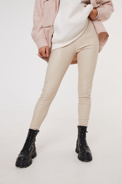 SEAM DETAIL LEATHER LOOK LEGGINGS