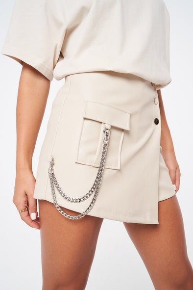 LEATHER LOOK UTILITY SKORT