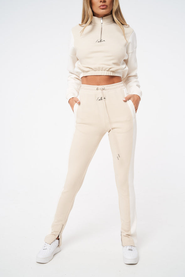 CONTRAST RIBBED STRAIGHT LEG JOGGERS