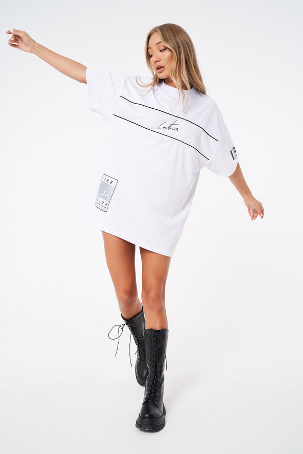 SIGNATURE PIPED VARSITY LABEL T-SHIRT DRESS