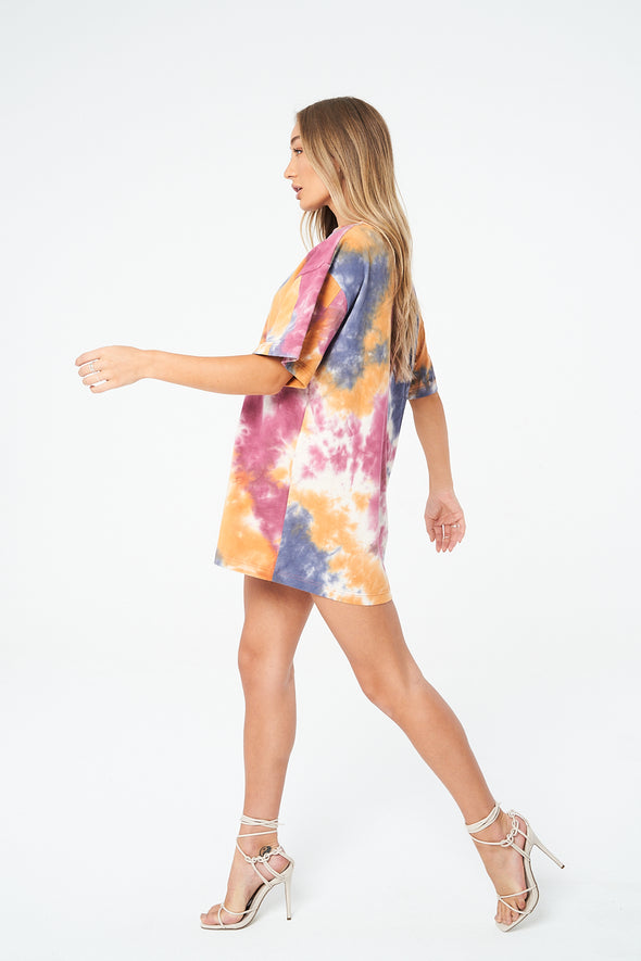 SIGNATURE MULTI TIE DYE T SHIRT DRESS