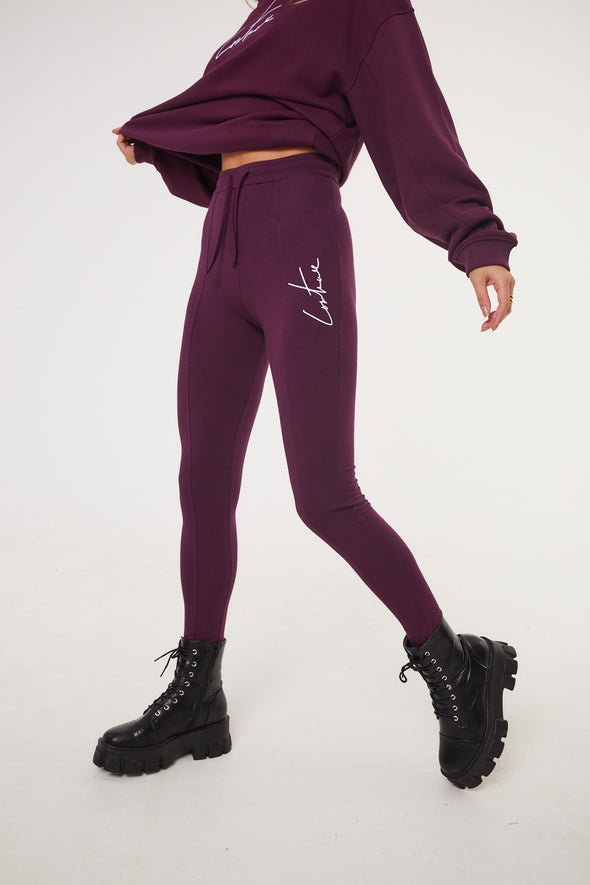 ESSENTIAL SEAM DETAIL PURPLE LEGGINGS